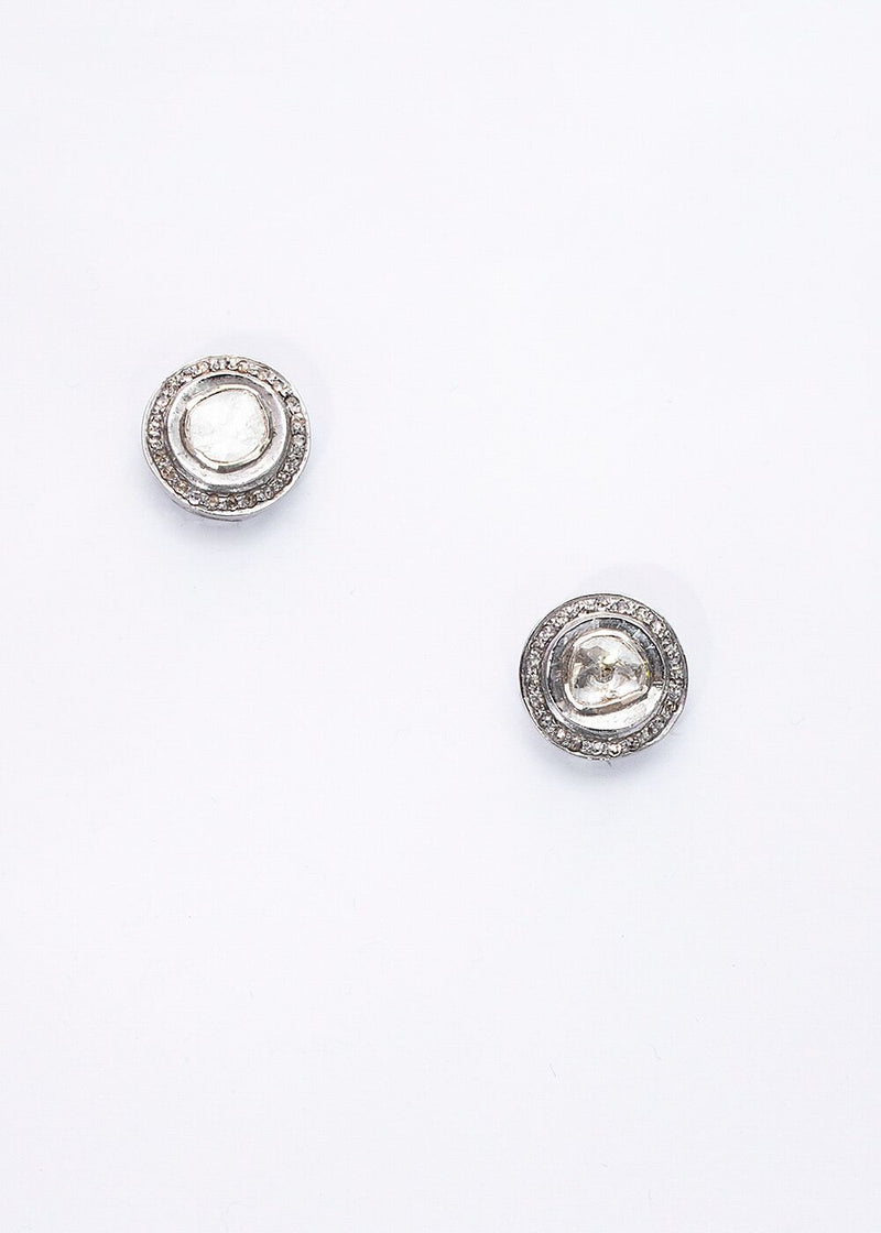 Pave & Rose Cut Diamond Round Stud Earrings 3400-Earrings-Gretchen Ventura
