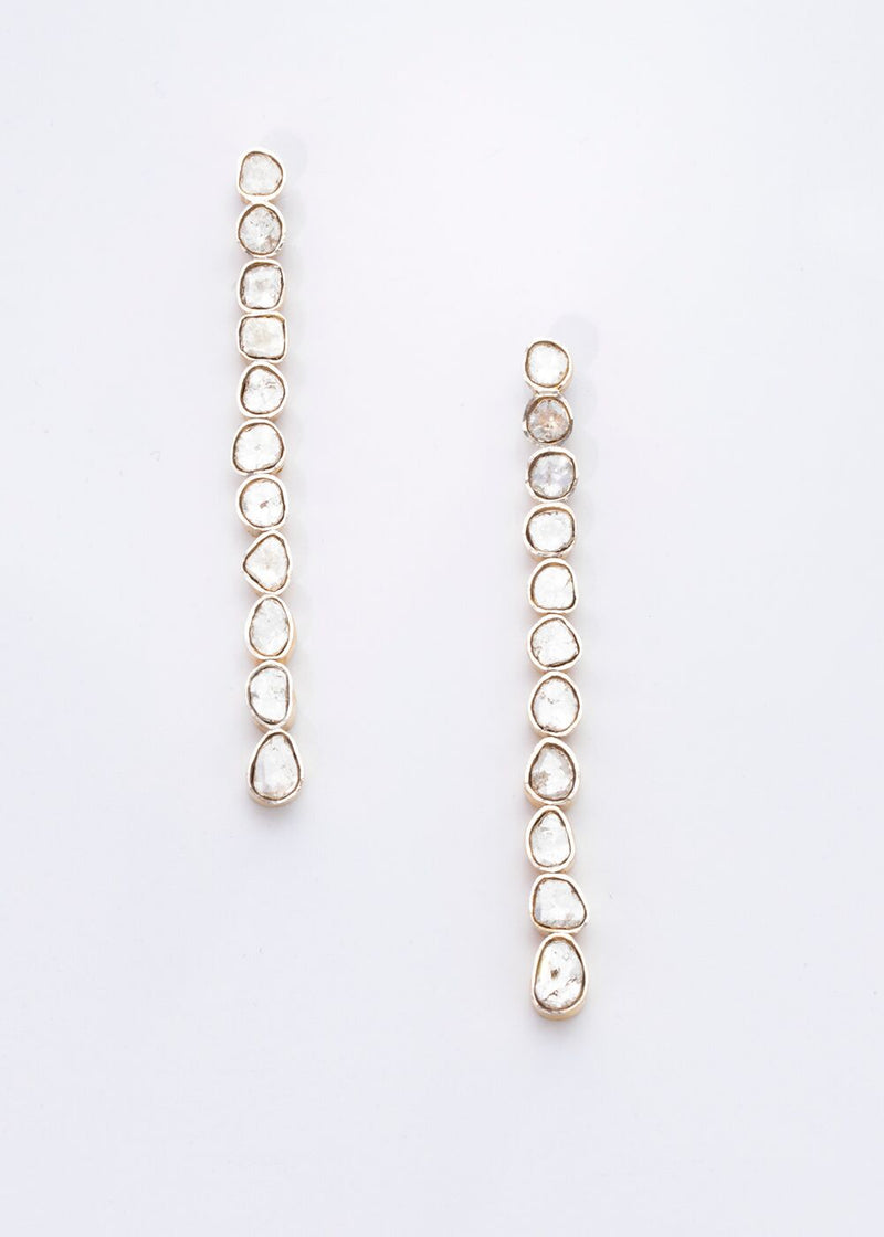 Gold Plate over Sterling and Rose Cut Diamond Drop Earrings 3410-Earrings-Gretchen Ventura