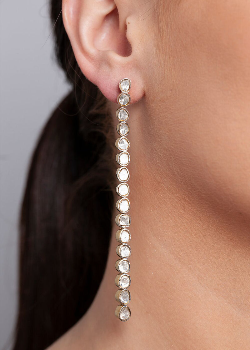 "Sterling and Rose Cut Diamonds (3.7 C) Drop Earrings (4"") #3414-Earrings-Gretchen Ventura"