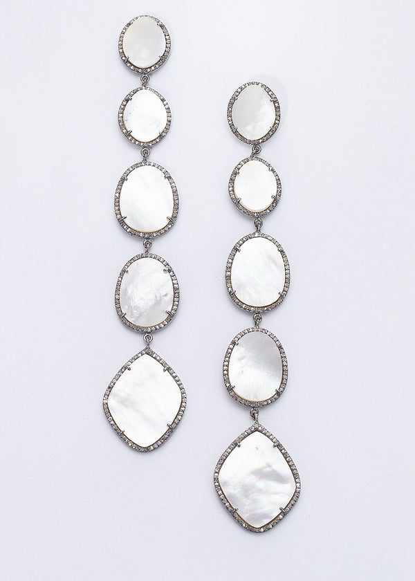 "Sterling & Diamond Encrusted Mother of Pearl Drop Earrings(5"")-Earrings-Gretchen Ventura"