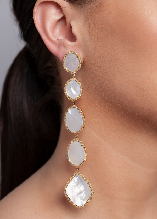 Gold Plate over Sterling & Diamond Encrusted Mother of Pearl Drop Earrings 3417-Earrings-Gretchen Ventura