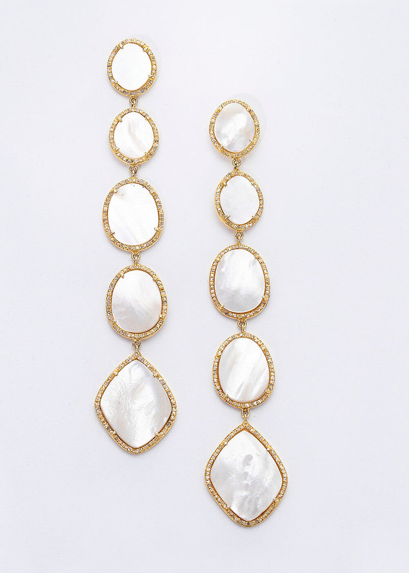 "Gold Plate over Sterling & Diamond Encrusted Mother of Pearl Drop Earrings(5"") #3417-Earrings-Gretchen Ventura"
