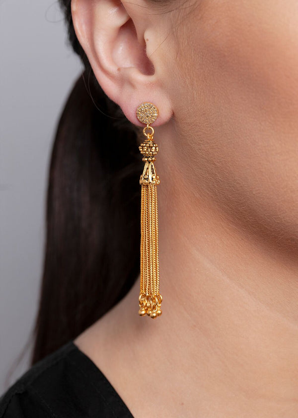 24K Gold Plate Sterling Tassel Earrings on Gold Plate Diamond Post 3426-Earrings-Gretchen Ventura