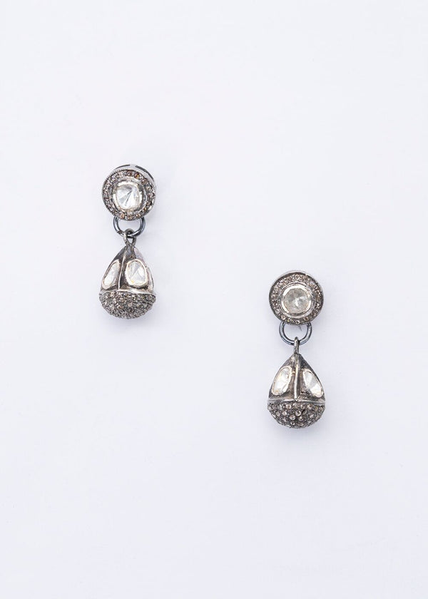 Rose cut and Pave Diamond Drop Earrings-Earrings-Gretchen Ventura