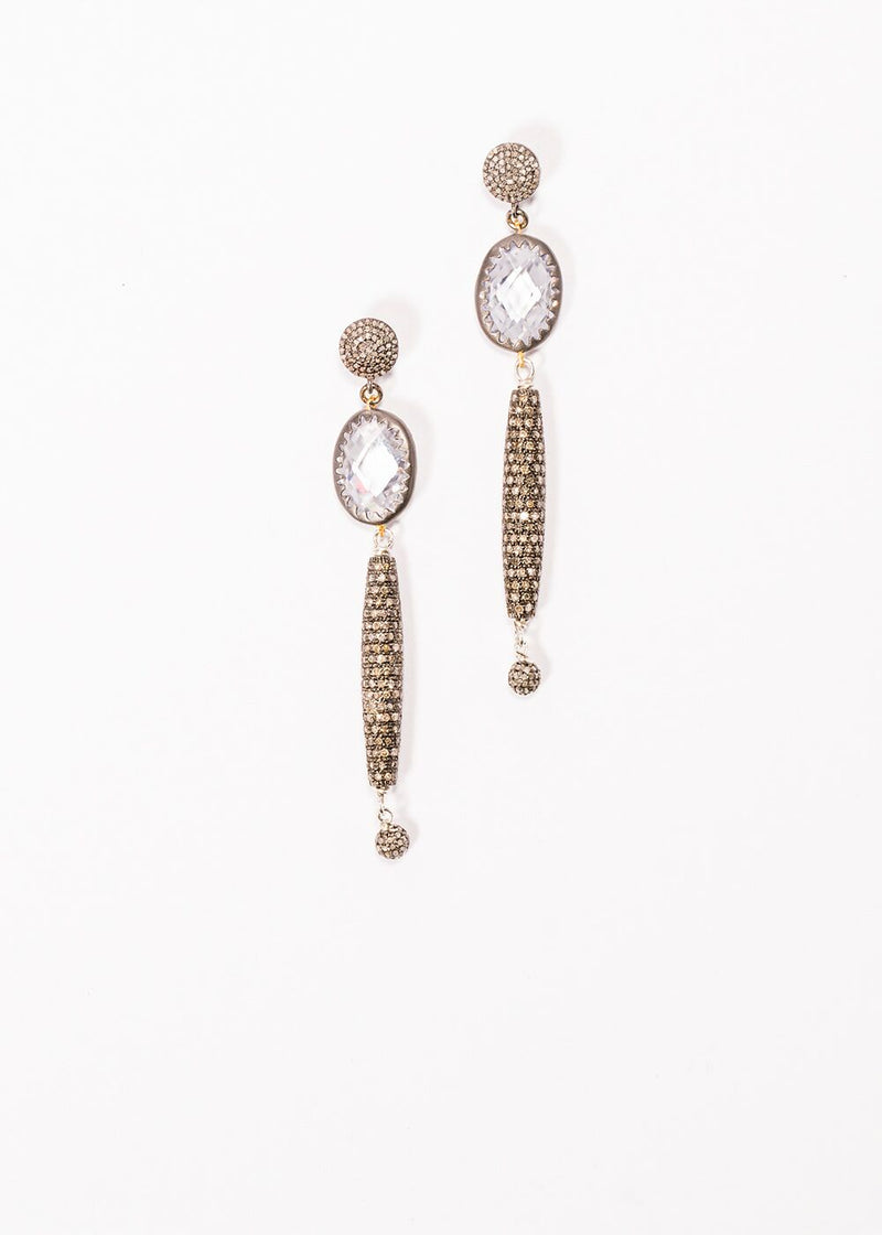 "Pave Diamond Posts & Drops w/ Faceted Quartz Crystal Earrings (3"") #3432-Earrings-Gretchen Ventura"