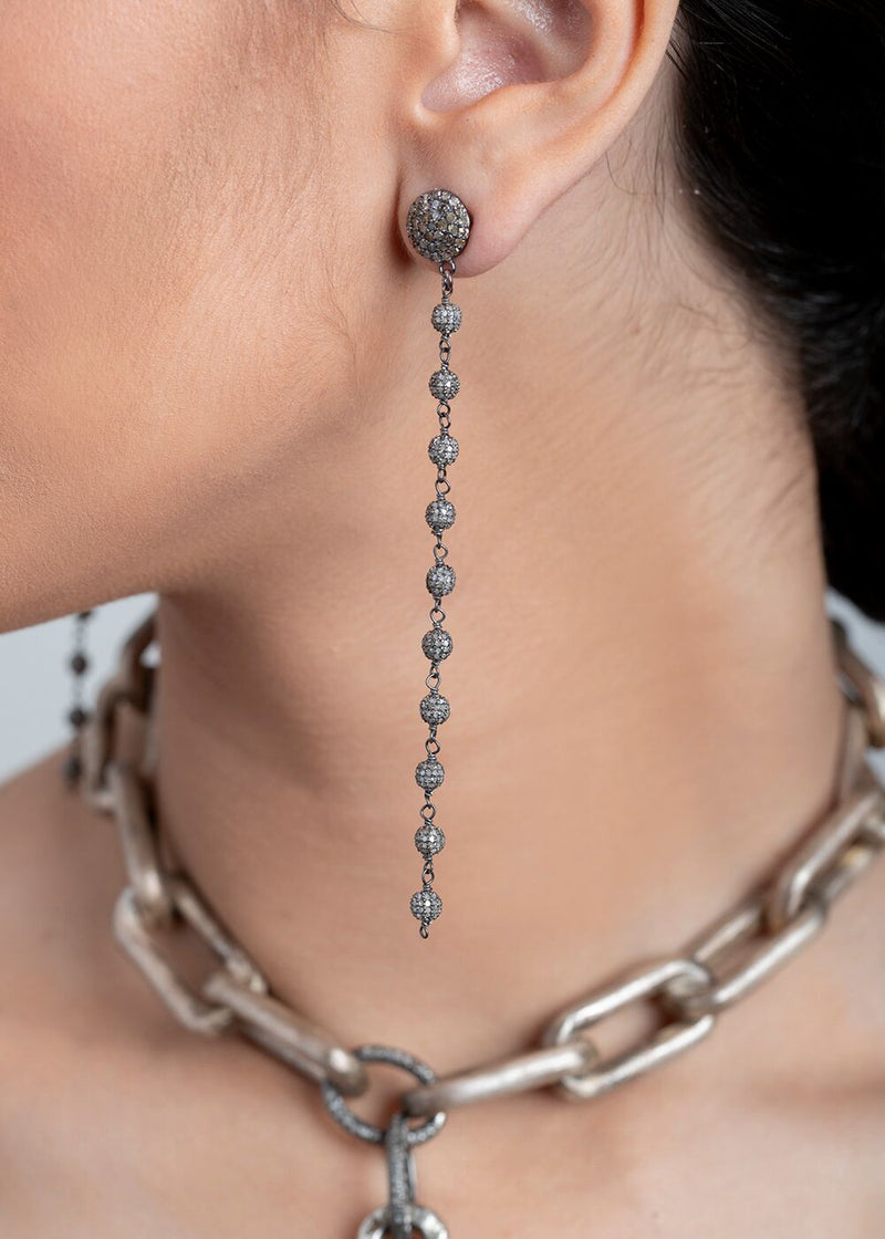 "Diamond Pave Rosary Chain Earrings on Rose Cut Diamond Posts (4"")-Earrings-Gretchen Ventura"