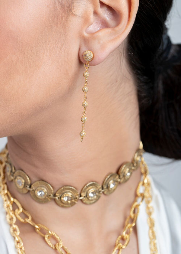 Gold Plate Diamond Pave Rosary Chain Earrings 3440-Earrings-Gretchen Ventura