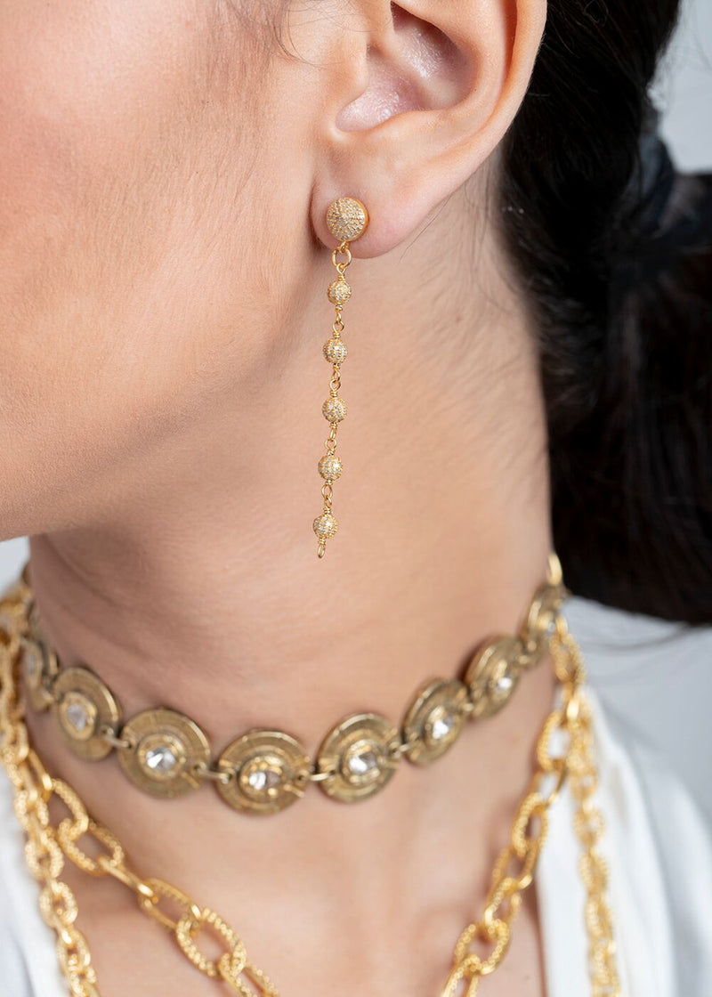 Gold Plate Diamond Pave Rosary Chain Earrings 6501-Earrings-Gretchen Ventura