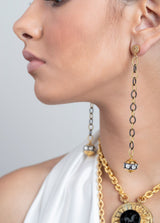 22K Gold & Rose Cut Bead w/ Gold Plate & Sterling Link Chain Earrings on Diamond Posts #3442-Earrings-Gretchen Ventura