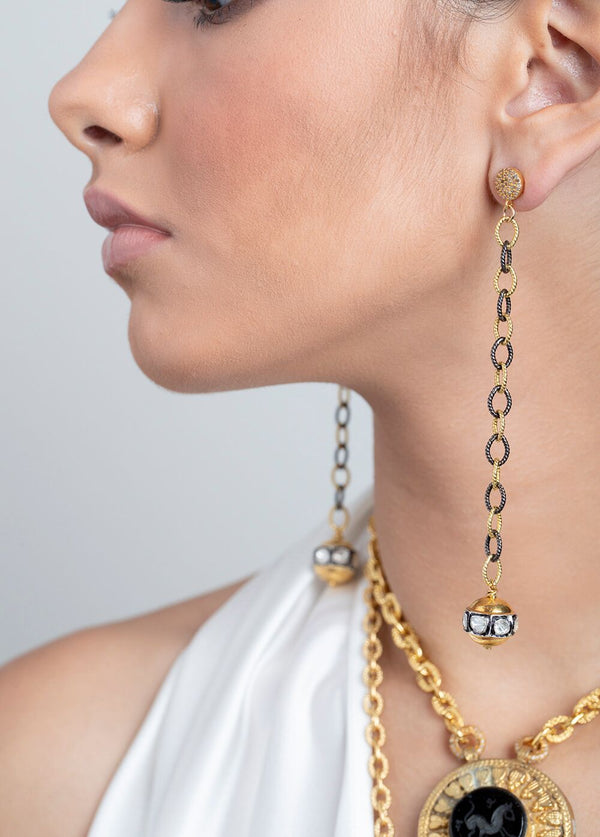 22K Gold & Rose Cut Bead w/ Gold Plate & Sterling Link Chain Earrings 3442-Earrings-Gretchen Ventura