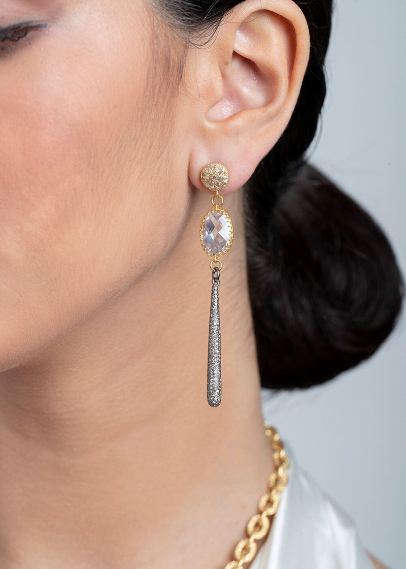 Gold plate Over Sterling Faceted Crystal, Diamond Drop Earrings #3446-Earrings-Gretchen Ventura