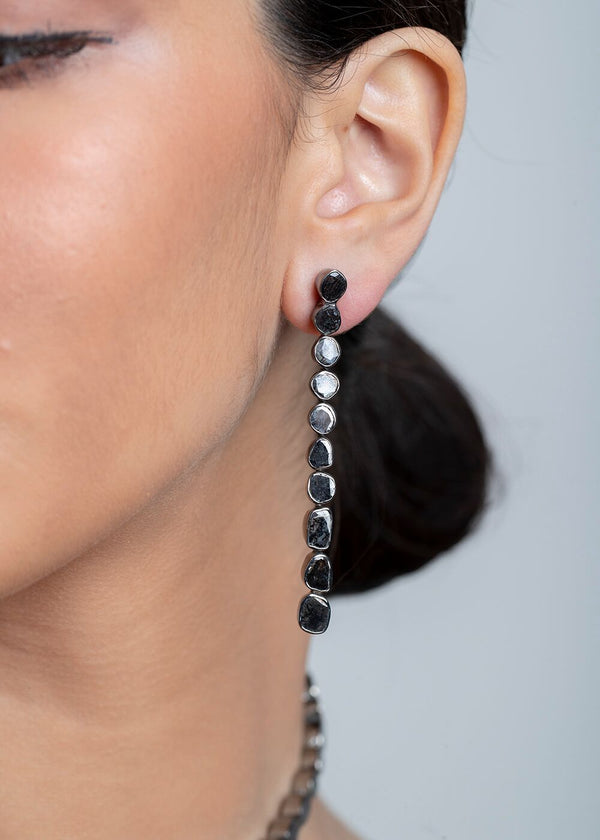 "Black Diamond Slice (3.38 C) & Sterling Drop Earrings (3"")-Earrings-Gretchen Ventura"