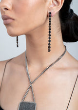 Black Diamond Slice & Sterling Drop Earrings #3452-Earrings-Gretchen Ventura