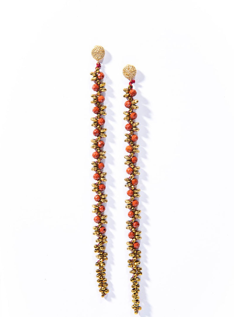 Faceted Gold Pyrite & Coral Macramé earrings on Gold Plate over Silver & Diamond Posts #3459-Earrings-Gretchen Ventura