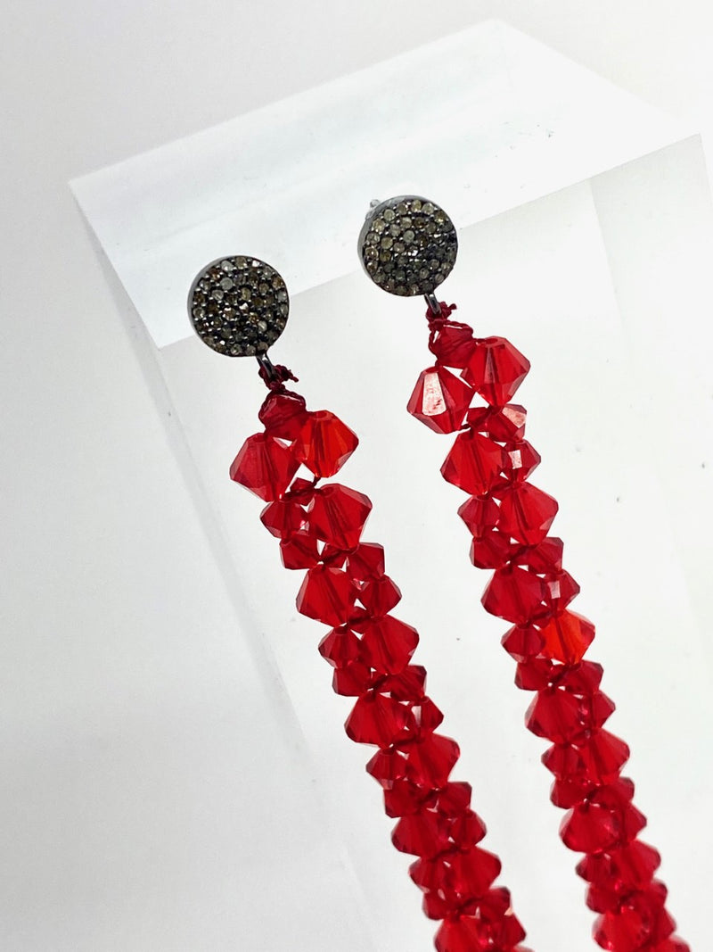 Faceted Swarovski Crystal Macramé earrings on Diamond Posts #3462-Earrings-Gretchen Ventura