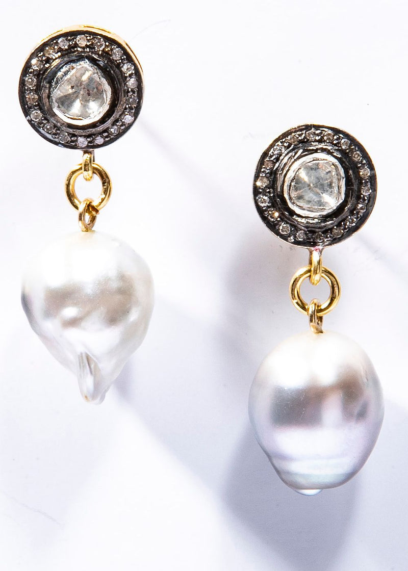 Gray South Sea Tahitian Pearl Earrings on Rose Cut & Pave Diamond Sterling Silver Posts #3488-Earrings-Gretchen Ventura