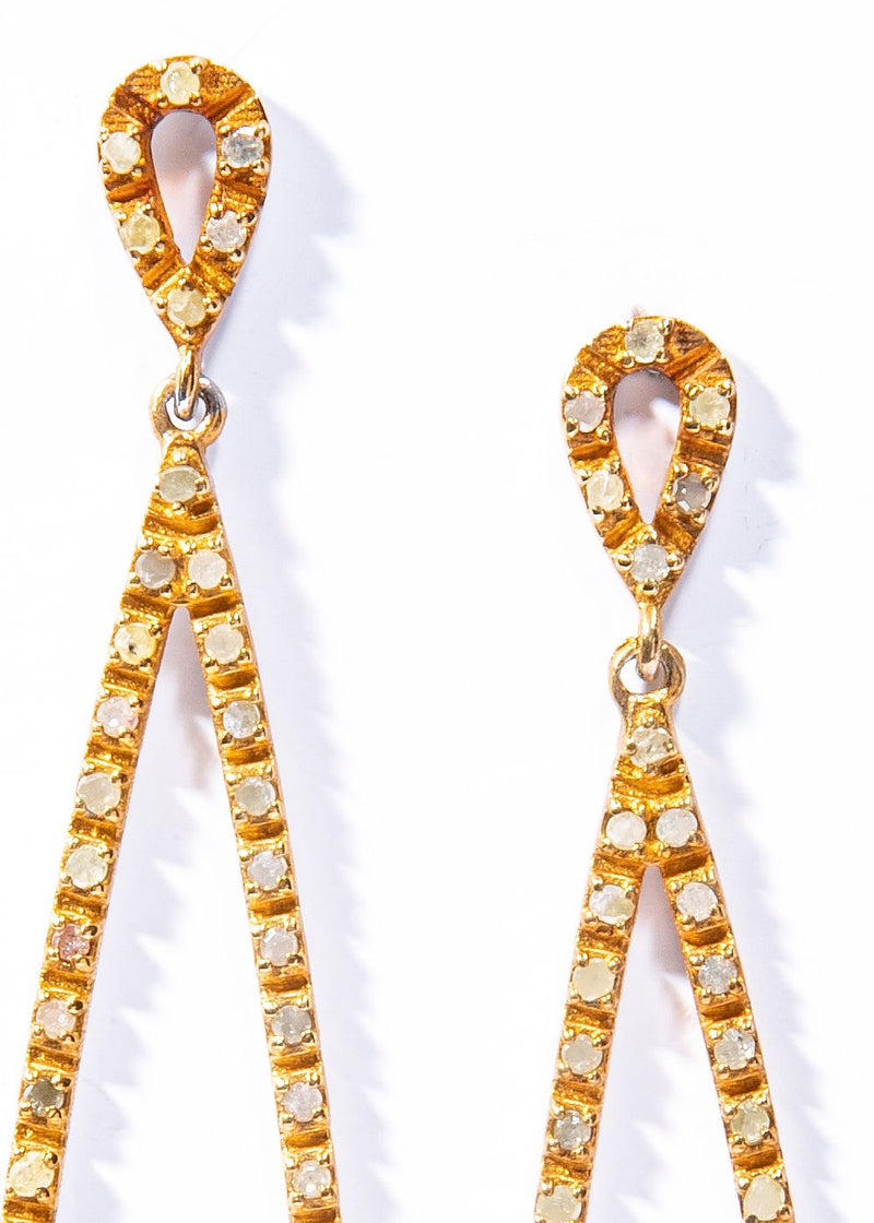 "Gold Plate over Sterling Silver Diamond Tear Drop Earring (2.5"") #3495-Earrings-Gretchen Ventura"