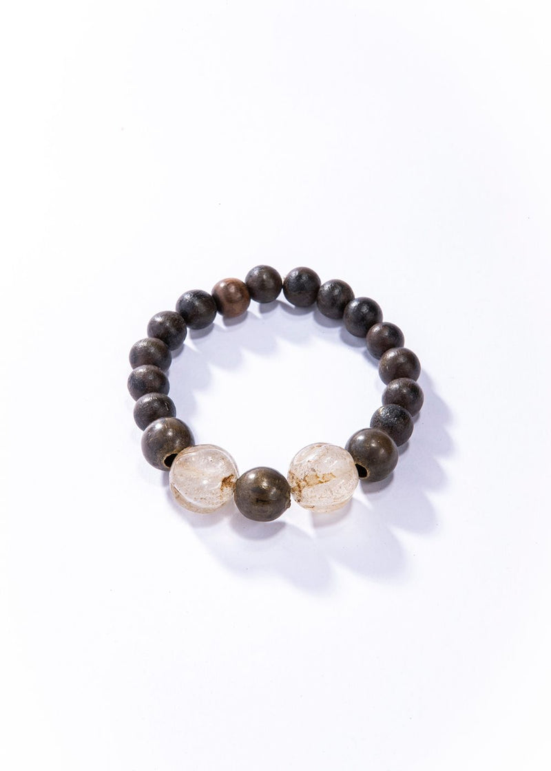 Brown Wood Beads w/ Vintage Bronze and Antique carved Quartz Crystal Beads #4161-Men's-Gretchen Ventura
