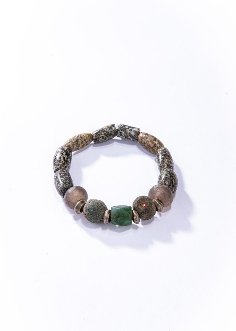Ancient Nigerian Agate Beads (2000 Yrs. Old) and Antique Sterling Beads #4164-Men's-Gretchen Ventura