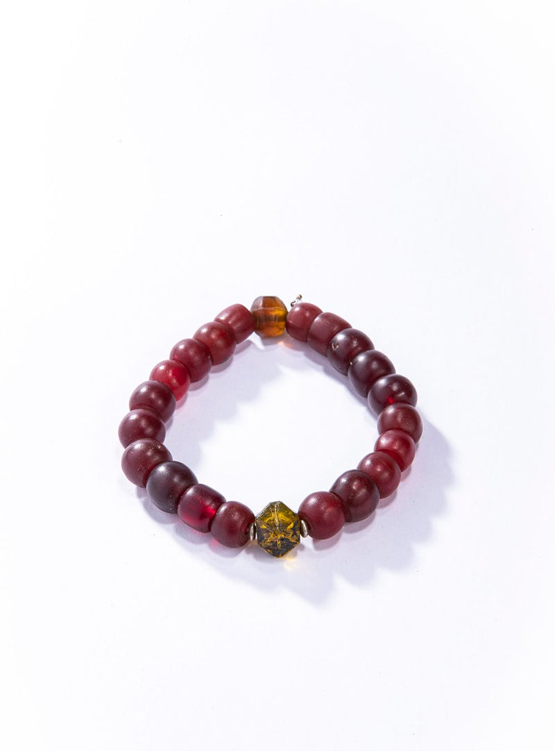 Antique Blood Red Afghanistani & Antique Amber Nigerian Glass Beads Bracelet #4168-Men's-Gretchen Ventura