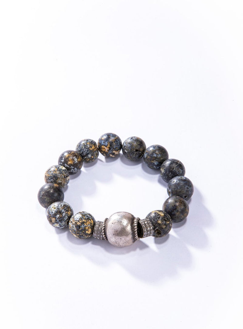 Rare Ocean Jasper w/ Diamond Wheels & Antique Moroccan Silver Bead Bracelet 4213-Men's-Gretchen Ventura