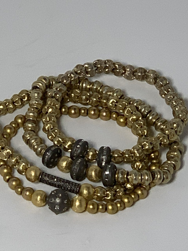 Antique Gold Plated Hill Tribe Beads w/ Matte Sterling Pave & Baguette Diamond Beads 4216-Men's-Gretchen Ventura