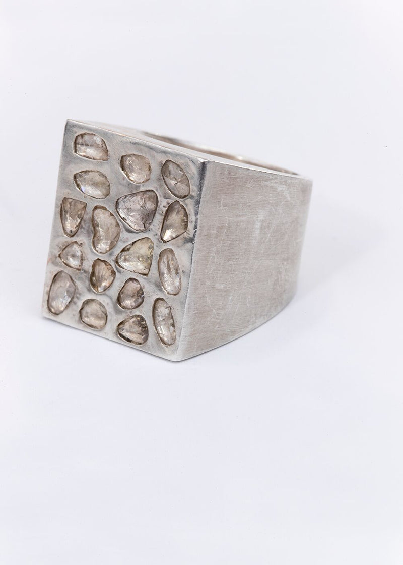 Conflict Free Diamond Slices on Sterling Silver Box Ring-Rings-Gretchen Ventura