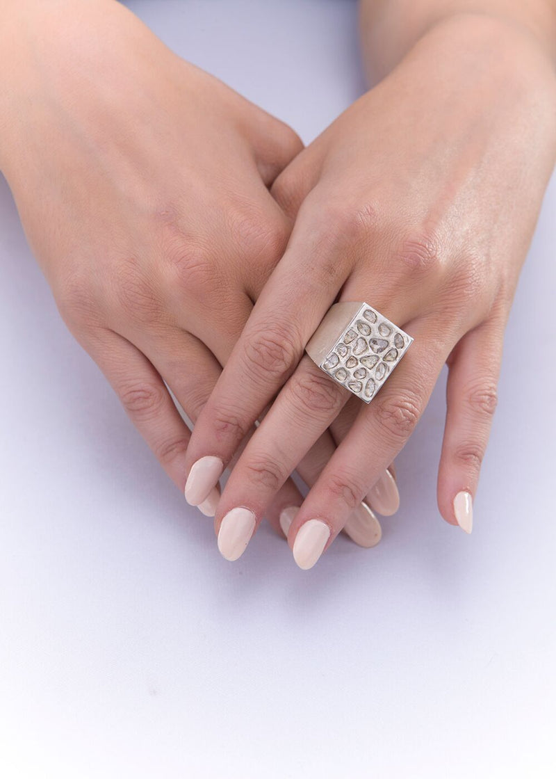 Conflict Free Diamond Slices on Sterling Silver Box Ring 5014-Rings-Gretchen Ventura