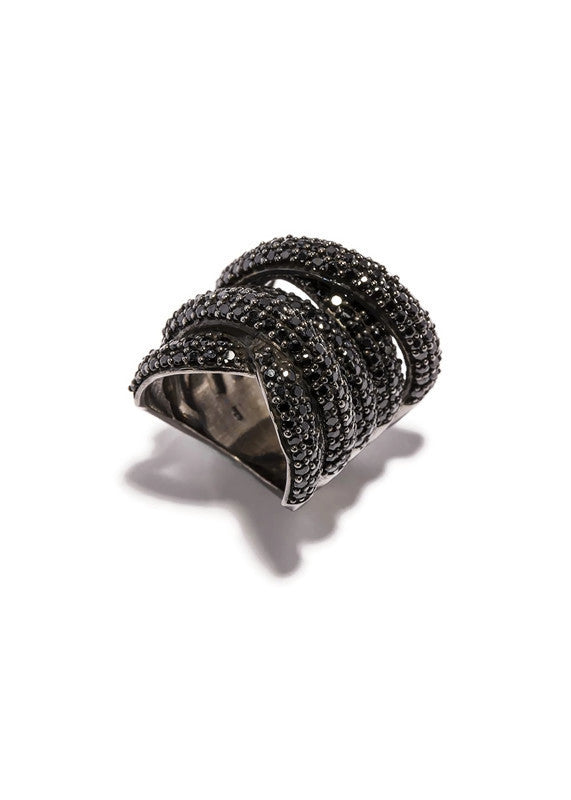 Black Spinel Wrap Ring (size- 6,7,8, 9) #5022-Rings-Gretchen Ventura