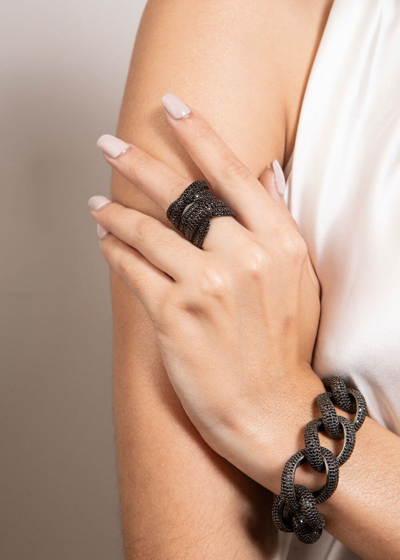 Black Spinel Wrap Ring (size- 6,7,8, 9)-Rings-Gretchen Ventura