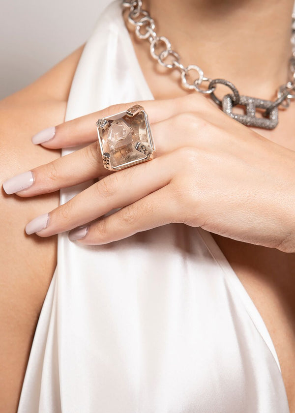Manifestation Crystal, Conflict Free, & Amber Diamond Ring in Sterling Silver 5024-Rings-Gretchen Ventura