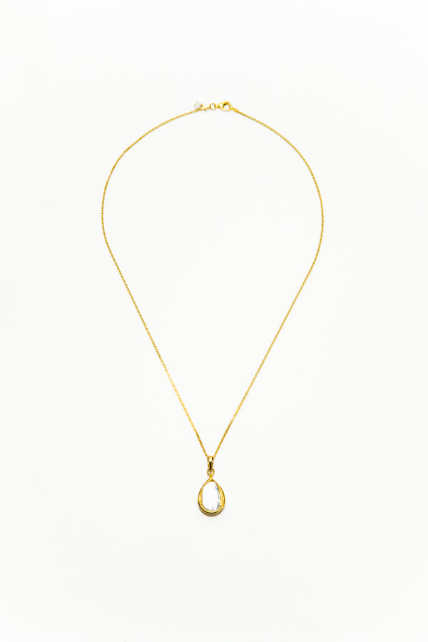 Polki Diamond Large Tear Drop w/ 24K Gold Front, Hand Enamel Back on 18K Gold Chain #9355-Necklaces-Gretchen Ventura
