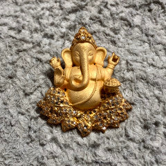 "Gold Plate Over Sterling Frosted Diamond Ganesha Pendant (1.25"") 7122-Talismans-Gretchen Ventura"