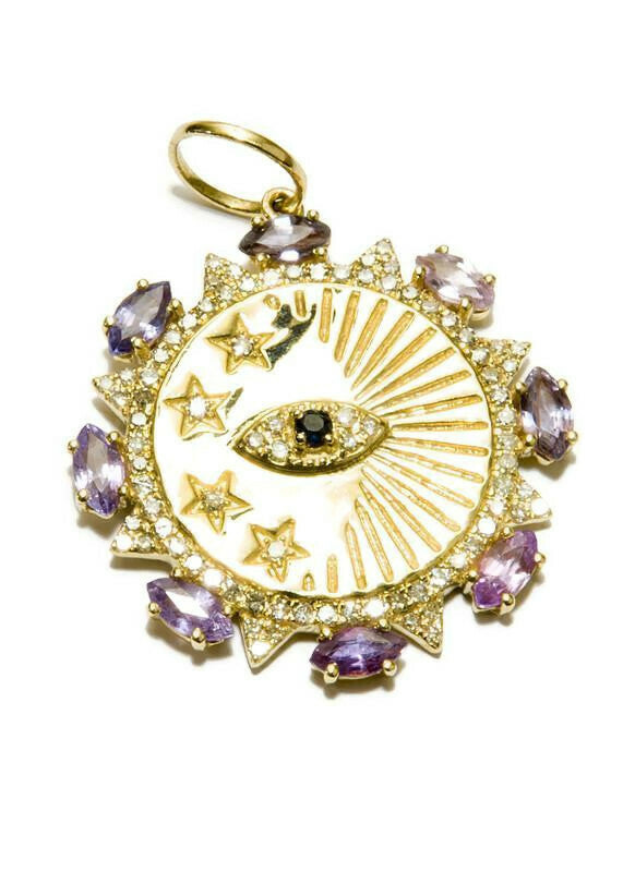 Diamond (0.46 C), Sapphire (1.43 C), Evil Eye & Stars Pendant in 14k Gold #7188
