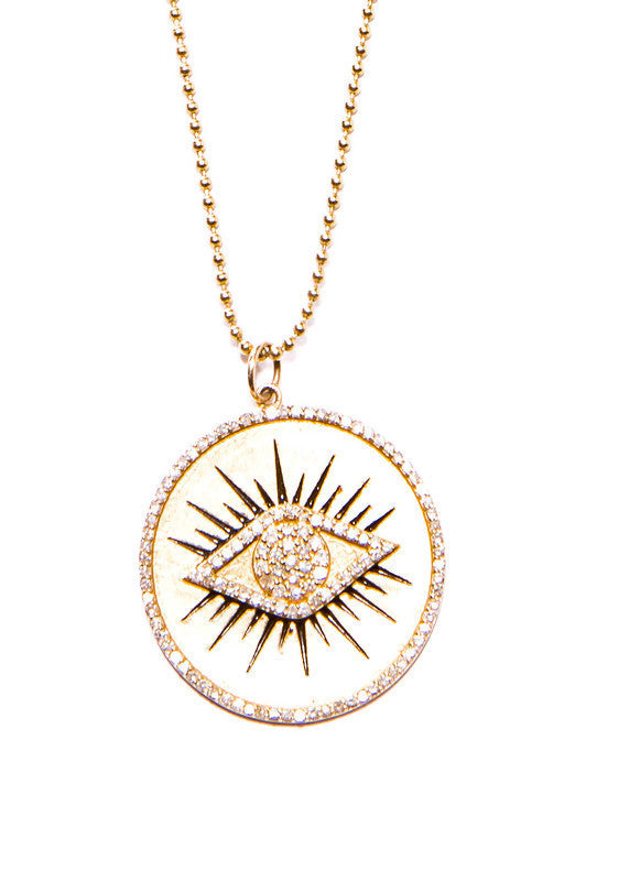 "14K Large Matte Yellow Gold, Diamond & Black Enamel Evil Eye Pendant (1.5"") #7205-Neck Pendant-Gretchen Ventura"