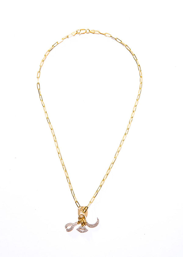 14K Gold & Diamond Wish Bone Pendant #7212-Neck Pendant-Gretchen Ventura
