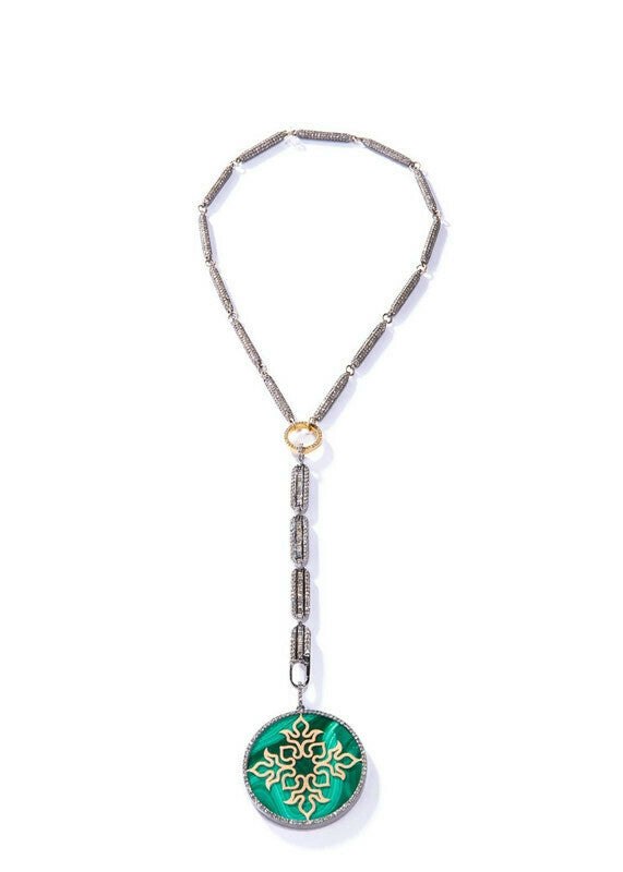 18K Gold Medalion, Brilliant cut Champagne Diamond (1.1 C) & Malachite Pendant #7225-Neck Pendant-Gretchen Ventura