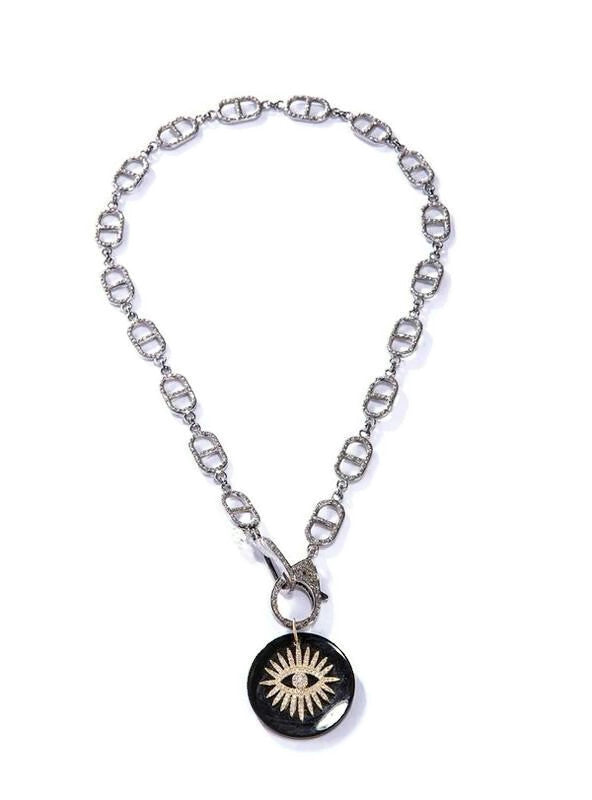 18 K Gold & Single Cut Diamond ( 0.60 C) Evil eye on Onyx Pendant #7226