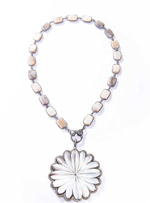 "Mother of Pearl & Single Cut Diamond (1.95 C) Daisy Pendant 3"" #7227-Neck Pendant-Gretchen Ventura"