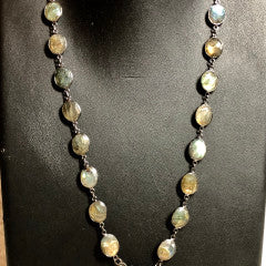Round Faceted Labradorite in Sterling w/ Diamond Clasp 7585-Talismans-Gretchen Ventura