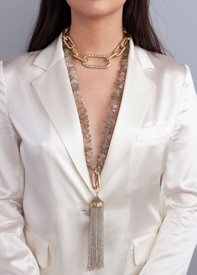 22k Gold over Sterling Links w/ Conflict Free Diamond Slice Clasp 9001-Necklaces-Gretchen Ventura