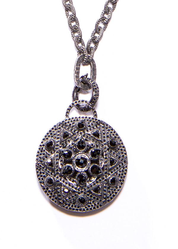 Rhodium Plated Sterling Hammered GV Chain w/ Oxidized Sterling & Black Spinel Pendant #9434-Necklaces-Gretchen Ventura
