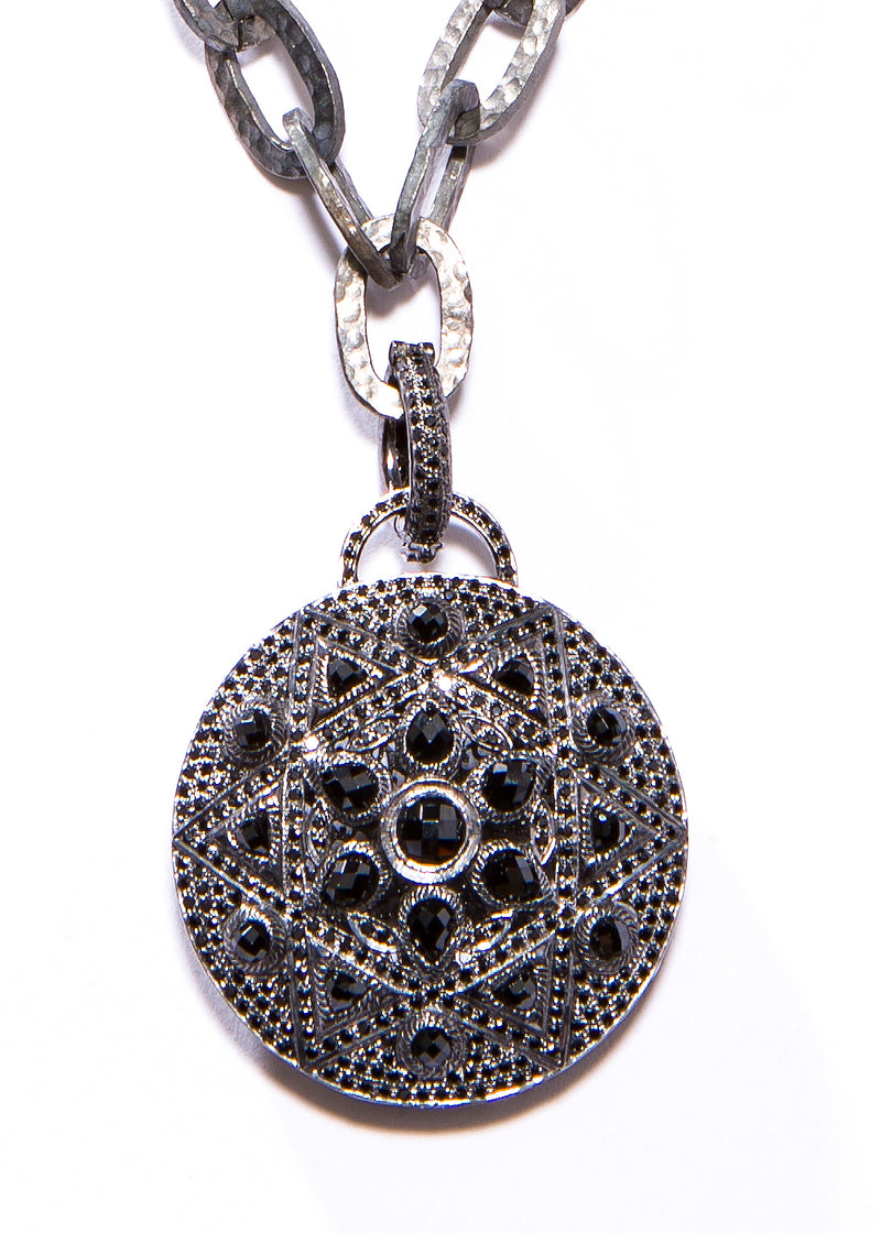 Faceted & Pave Black Spinel on oxidized Sterling Silver Pendant #7211-Neck Pendant-Gretchen Ventura