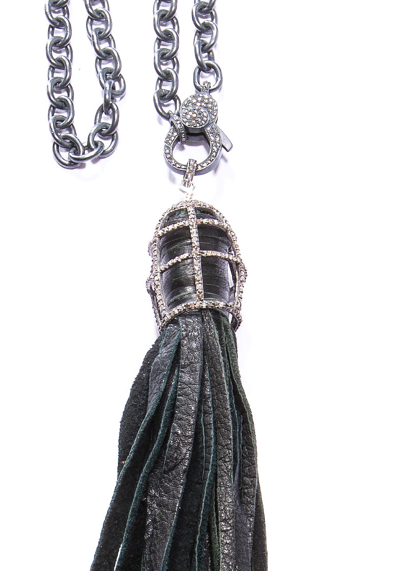 Black Leather Tassel in Sterling & Diamond Cage w/ Rhodium Plated Sterling Link Chain #9458-Gretchen Ventura