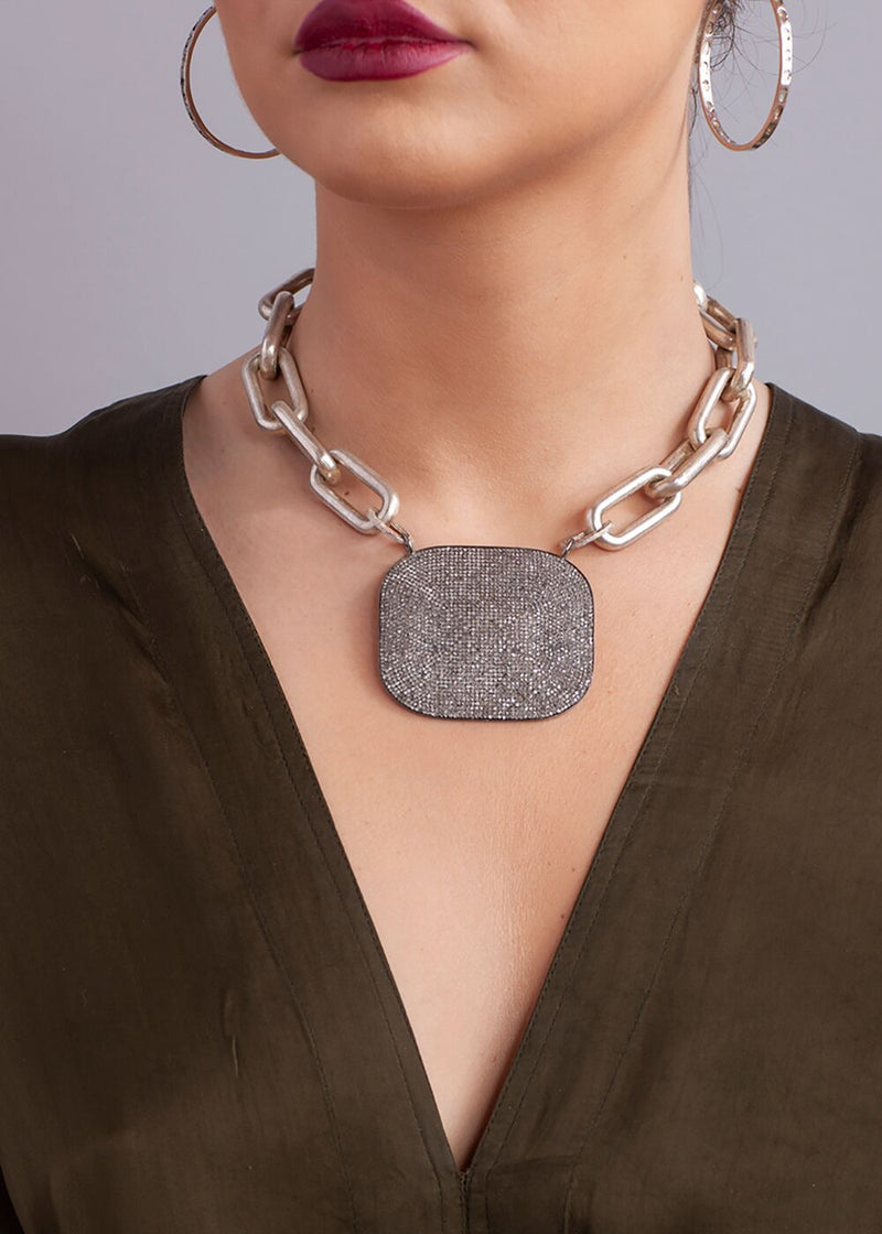 "Diamond Plate on Acid Washed Sterling Silver GV Link Necklace (16""+2"")-Necklace-Gretchen Ventura"