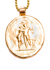 "Aphrodite Cupid & Ares GP over bronze on brass ball chain (34"" + 1.75"")#9419-Necklaces-Gretchen Ventura"