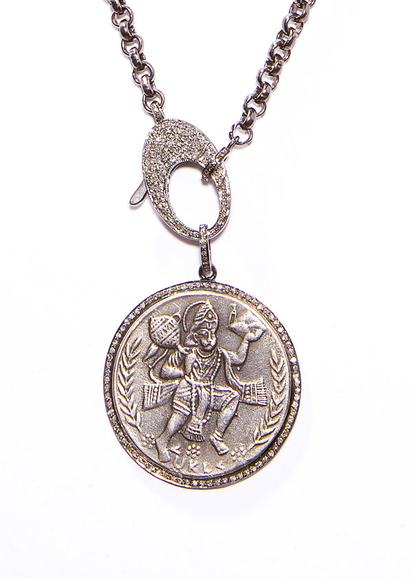 Oxidized Sterling Silver & Diamond Hanuman Pendant on Oxidized Sterling Silver Chain #9405-Necklaces-Gretchen Ventura