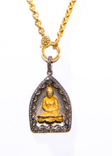 Gold, Matte Sterling & Pave Diamond Buddha Pendant, Gold Plate Sterling & 24K Gold Plate Coins #9164-Necklaces-Gretchen Ventura