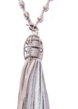 Gray Leather Tassel in Sterling & Diamond Cage w/ Diamond Cut Sterling Rosary Chain #9459-Necklaces-Gretchen Ventura