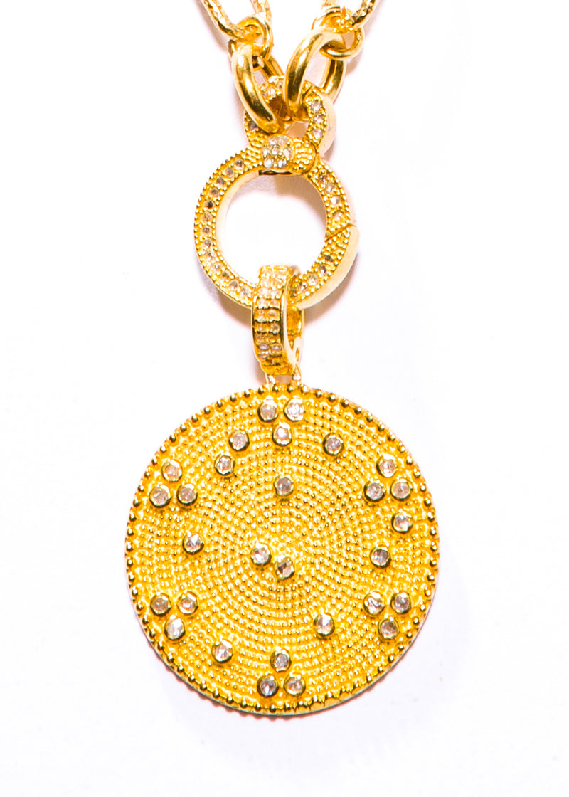 Gold Vermeil Over Sterling & Diamond Pendant w/ Gold Vermeil Link Chain #9447-Necklace-Gretchen Ventura